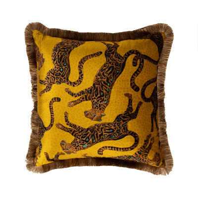 Cheetah Kings fringe velvet pillows in Gold