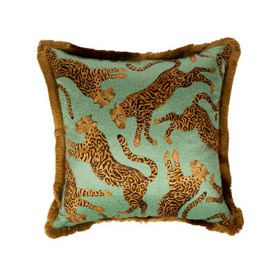 Cheetah Kings fringe velvet pillow in Jade