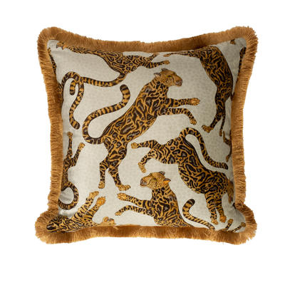 Cheetah Kings fringe velvet pillow in Stone