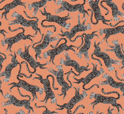Cheetah Kings linen fabric in Coral