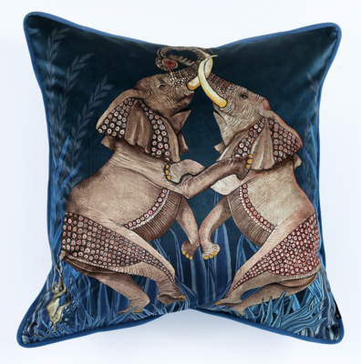 Dancing Elephants cotton pillow in Lake