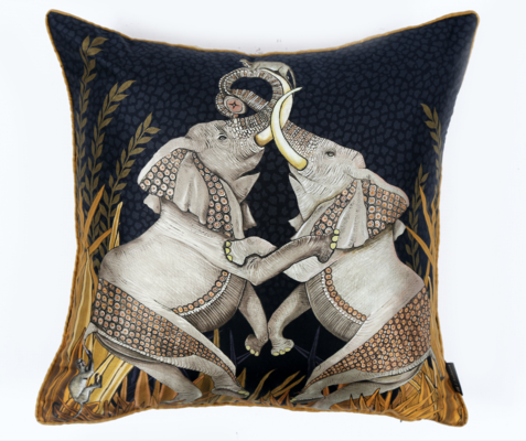 Dancing Elephants velvet pillow in Moonlight