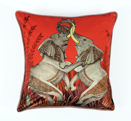 Dancing Elephants velvet pillow in Sunset