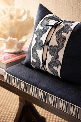 Lanai (bench cushion) and Oahu Embroidered Border (pillow)
