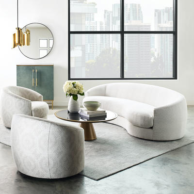 Giselle swivel chairs in Kravet textile and Giselle sofa in boucle