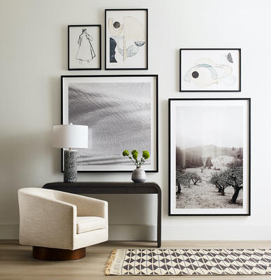 Bianca swivel chair, Harper desk, and MG+BW Lost Art Collection