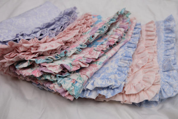 Soft French vintage poplin print Petite Ruffle shams in assorted colors