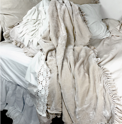 Silk velvet and linen Ruffle throw, available in three sizes and 12 colors