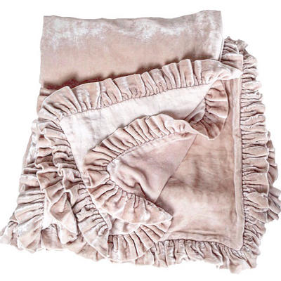 Silk velvet and linen Ruffle throw, available in 12 colors