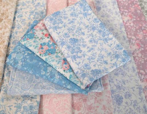 Soft French Vintage poplin prints, available for custom bedding and fabric
