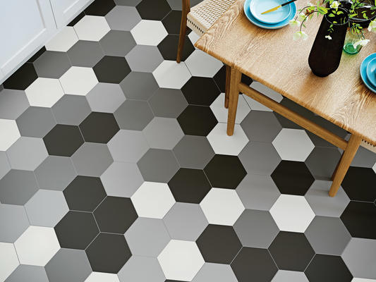 Heksa porcelain tile features the distinct and chic geometric hexagon, as timeless as it is efficient in design. The iconic honeycomb pattern adds edge when creating unique designs, versatile for any room. Heksa™ colors include six options, as varied as tried-and-true neutrals and a pop of color with green and navy.