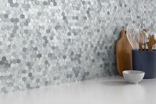 Link groutless stone mosaic provides a unique, three dimentional stone look in an easy-to-install format. The beautiful, yet durable, marble stone is ideal for any application. Available in Hex, Cube, Herringbone, Linear designs as well as a modern look with metal accents.