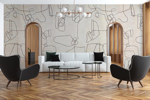 Form Wallcovering in Aubergine
