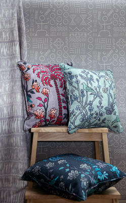 Mao Tai cloth in Lilac, Dogon wallcovering in Lilac, Mighty Jungle cotton in Lilac, Lagune and Midnight