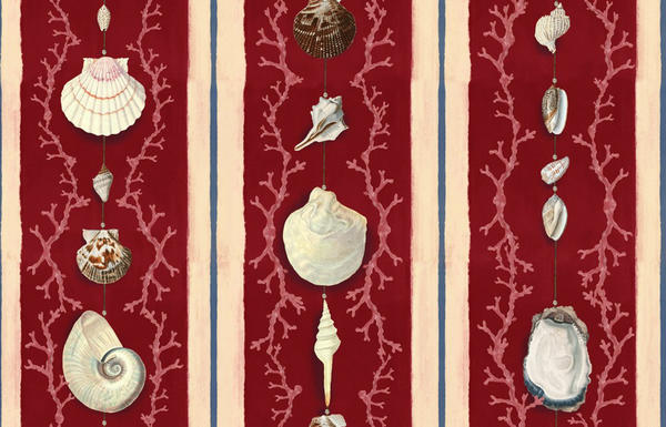 Coquillage wallpaper in Samba Red