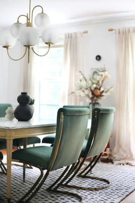 Vintage Pierre Cardin dining chairs reupholstered in Ultrasuede Pine by interior design blogger Kyla Herbes of House of Hipsters