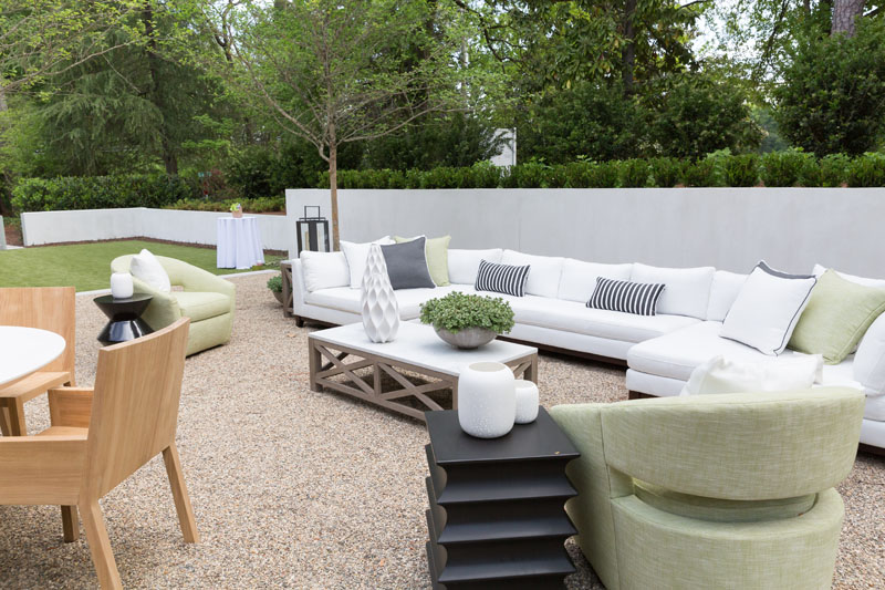 The courtyard was designed by Sherrill Furniture and Lillian August.