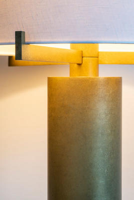 Detail of the Bramley table lamp in Tumbled Brass