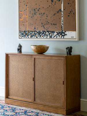 Chilcomb sideboard, shown in Beech and grasscloth