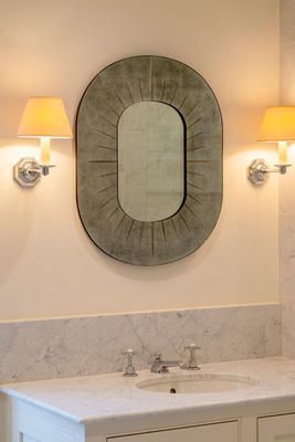 Kimpton mirror in etched antiqued mirror glass