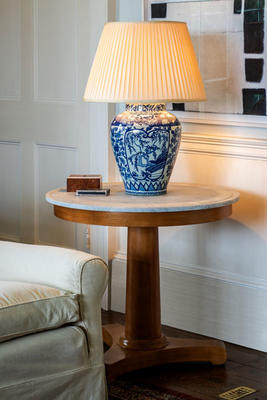 Fosbury table in Beech, with a marble top