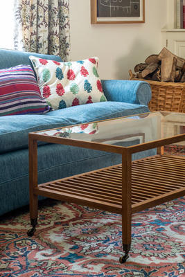 Linwod table in Beech, with a glass top