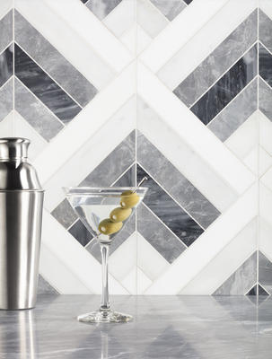 Named for one of the great resorts of the Art Deco era, Arrowhead's right-angled stripes of marble combine in a surging energy.