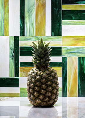 Stripe Green Mosaic is a sophisticated checkerboard pattern composed of rectangles cut from Artistic Tile's Jazz Club art glass.