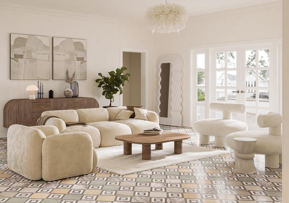 Checkerboard is a modern distillation of the flair for pattern and timeless technique displayed by the historic Cosmati.