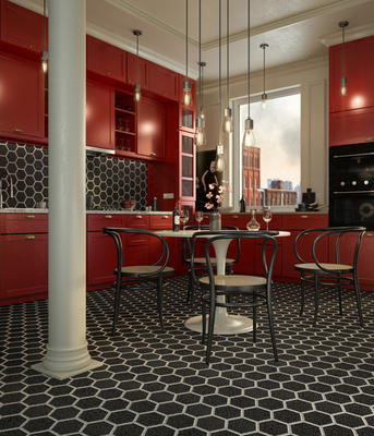 Hudson Hex is unique, with square tesserae pieces in differing colors and orientation creating a hexagonal mosaic for a modern take on a traditional form.