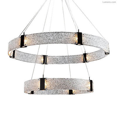 Two Tier Parallel Ring LED Chandelier by Hammerton Studio