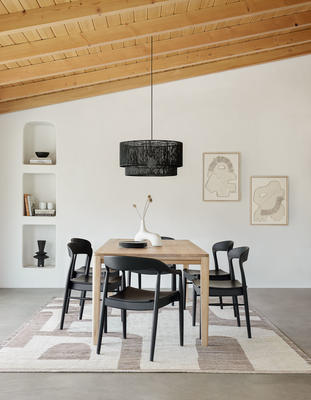 Abode Rug by Élan Byrd styled with the Reese Dining Table, Ida Dining Chairs and Sayan Pendant Light