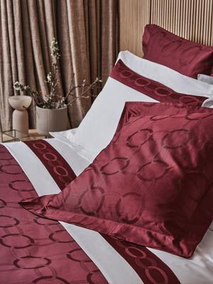 Chains duvet cover and euro shams in Amaryllis paired with Chains Border sheet set in White-Amaryllis.