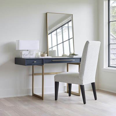 Allure Desk in Digo finish shown with the Anthony Tall Side Chair
