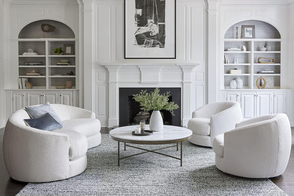 Giselle Sofa and Swivel Chairs with the Vienna Cocktail Table