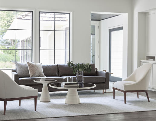 Hunter Sofa in Mont Blanc Leather with Addie Tables in White Finish and Bella Chairs