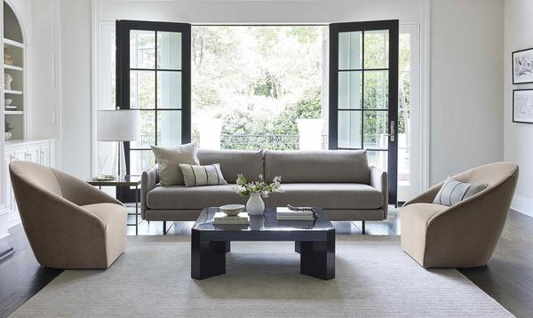 The Soma Sofa with Rose Swivel Chairs and the Collin Cocktail Table