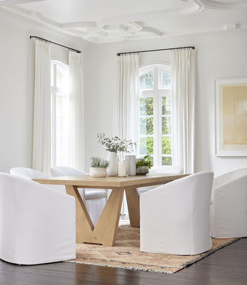 Vann Dining Table with Portia Dining Chairs in performance linen