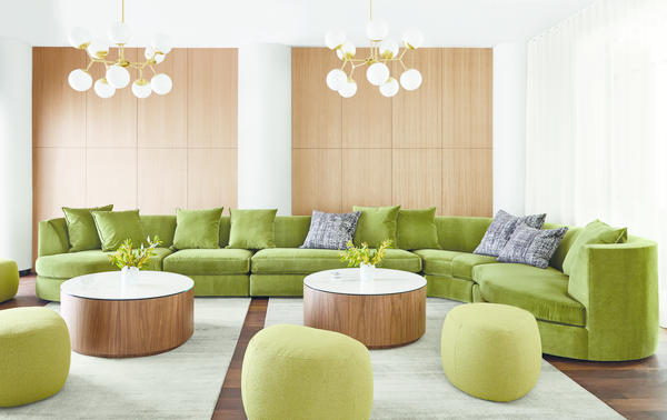 Astaire sectional, Liam coffee tables and Asher ottomans