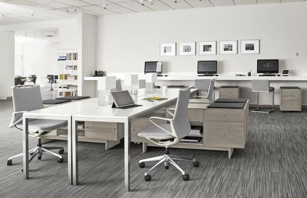Parsons desks, Hudson storage benches and Plimode office chairs