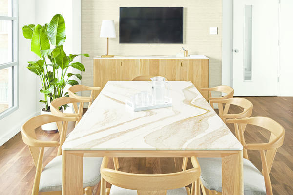 Pren conference table, Pren storage cabinet and Evan chairs