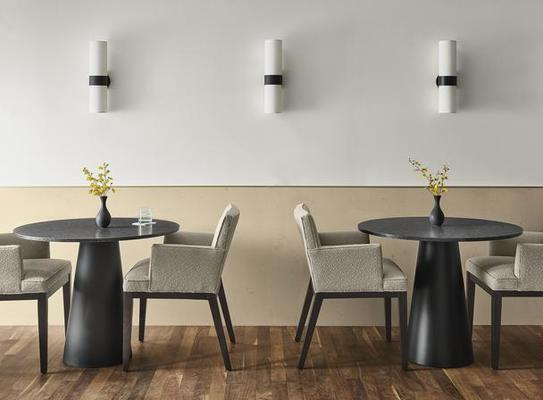 Decker tables and Ansel arm chairs
