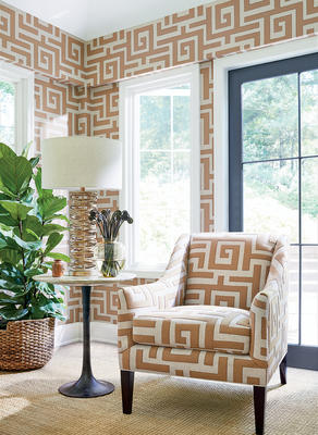 Tulum wallcovering and fabric in wheat on natural