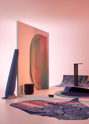 Forma | Act V  Rugs from front to back: Mai, Paradiso (rolled up), Lucy (hanging), Muse, Yin