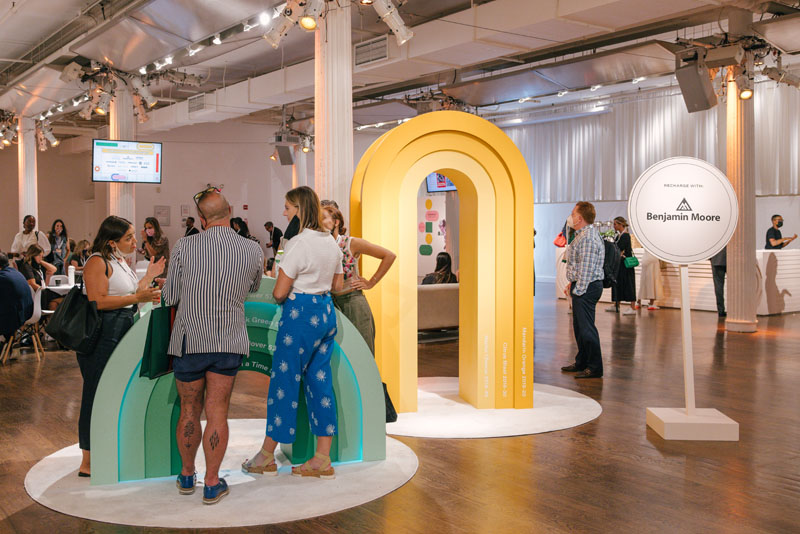 In the lounge, Benjamin Moore provided larger-than-life charging stations.