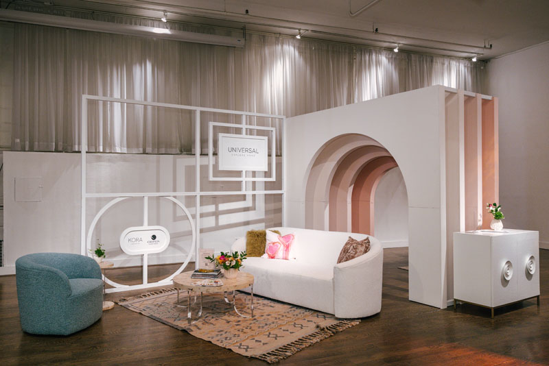 Universal Furniture invited attendees to get runway ready at home. Their space featured never-before-seen pieces from Miranda Kerr's new collection, Tranquility, which are upholstered in new performance boucle fabric from Crypton Home.