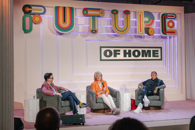 Martha Stewart and Jim Shreve on the future of collaboration, with moderator Dennis Scully (left)