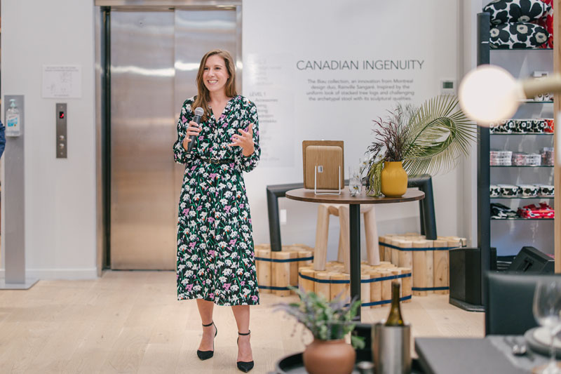 Business of Home's Kaitlin Petersen welcomes guests.