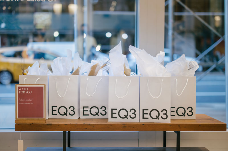 Guests left the EQ3 showroom with a thoughtful gift bag.