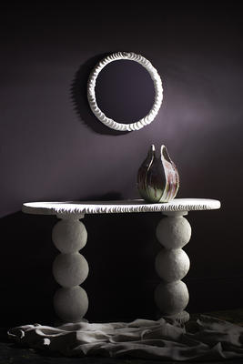 The Clam Shell mirror and Selina console table.